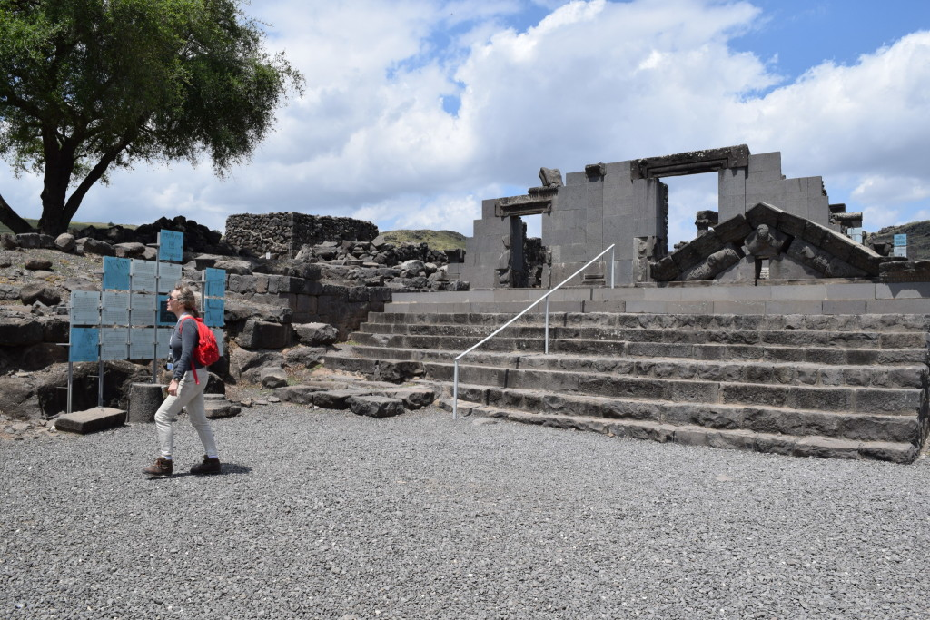 The synagogue at Corazim, mentioned in the New Testament, crafted from the local basalt stone. Basalt rock is a particularly difficult stone to carve.