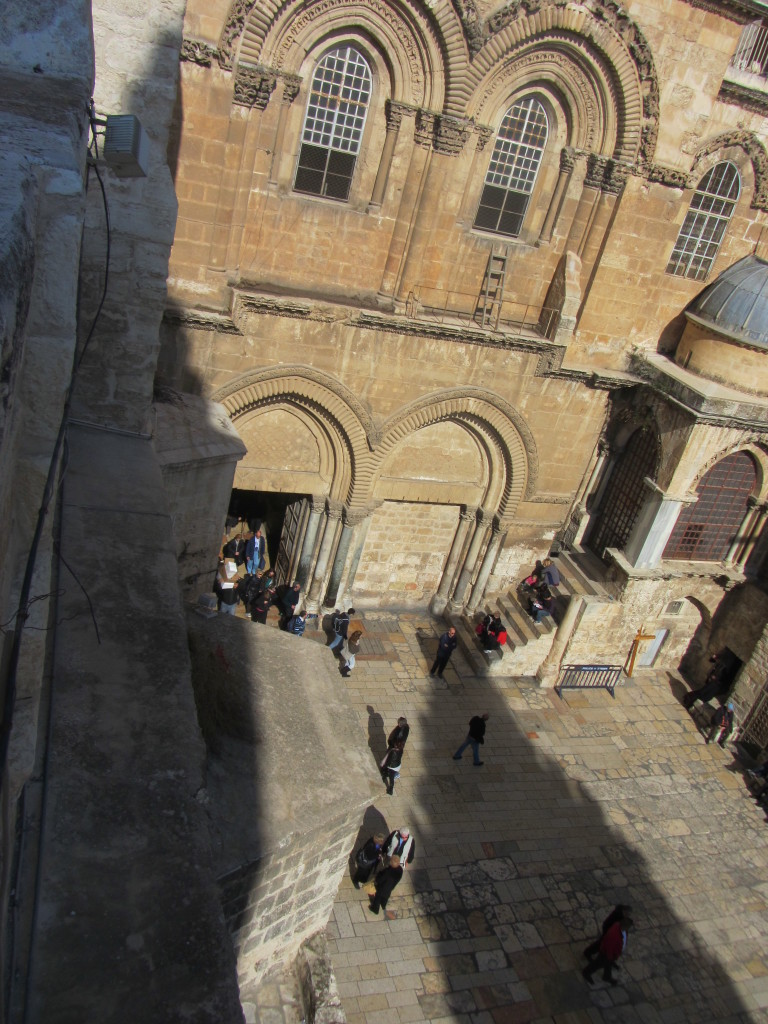 The courtyard of the Church of the Holy Sepulchre, seen from the roof of a neighboring Greek Orthodox chapel.