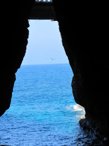 Over millions of years, wave-battered rock has yielded to create grotto's on Israel's northern-most coast.