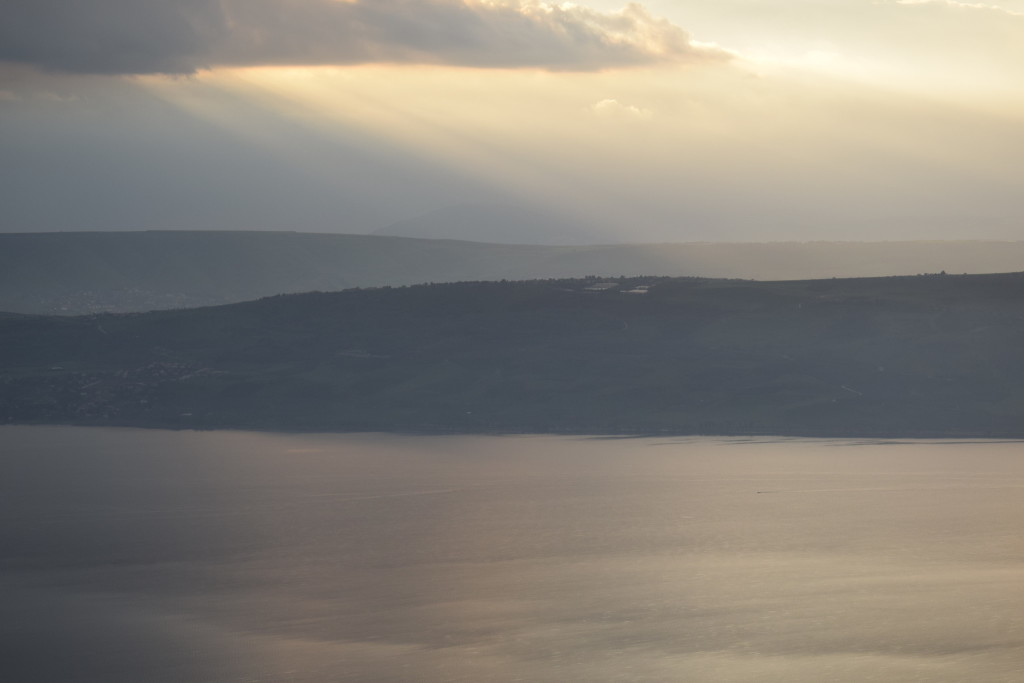 A view of the Sea of Galilee looking west, from the Golan Heights.