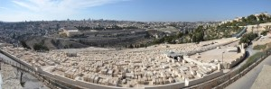 The view from the top of the Mount of Olives, looking across the Kidron Valley at the Old City of Jerusalem, with the New City in the background.